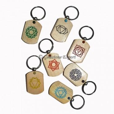 Wooden Printed Color Symbol Chakra Keyring