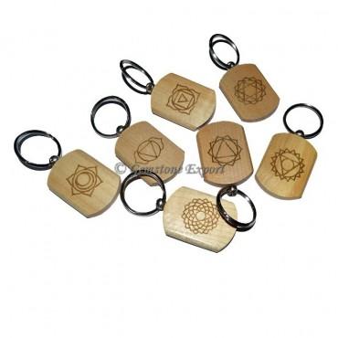 Wooden Engraved Chakra Symbol Keychain Set