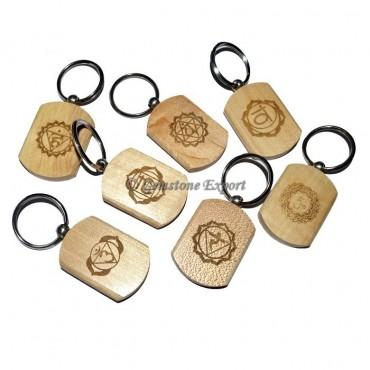 Wooden Chakra Engraved Keychain Set