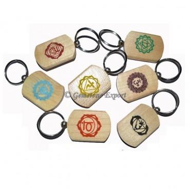 Wooden Color Chakra Symbol Keychain Set