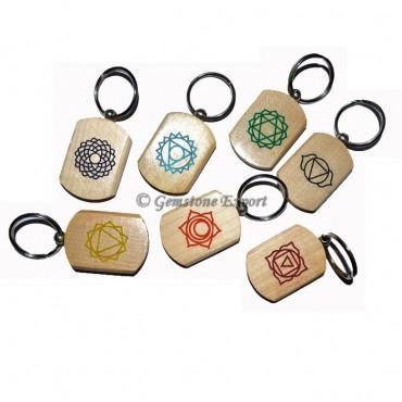 Wooden Color Symbol Chakra Keycahin Set
