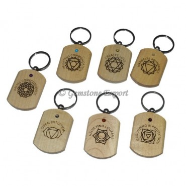 Seven Chakra Engraved Wooden Keyring Set