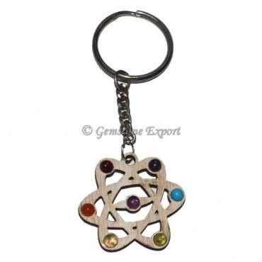 Galaxy Seven Chakra Wooden Keychain