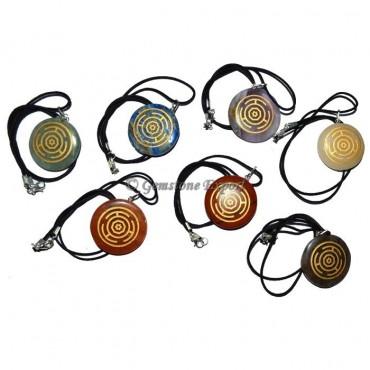 Wheel Chakra Engraved Disc Pendants