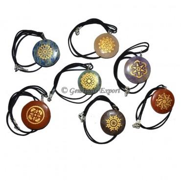 Fancy Golden Chakra Engraved Disc Set