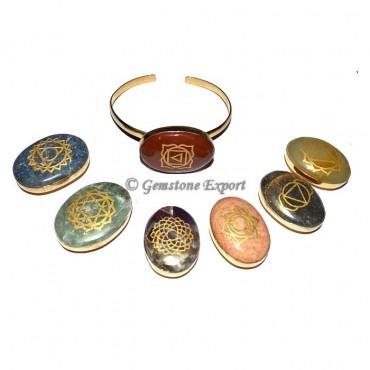 Chakra Engraved Oval Bangle Set