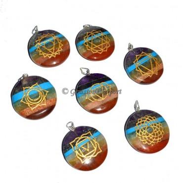 Bonded Chakra Disc Engraved  Pendants