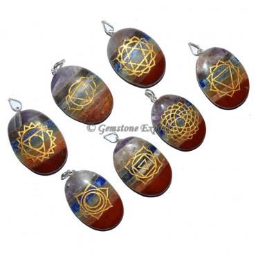Bonded Chakra Oval Engraved Pendants