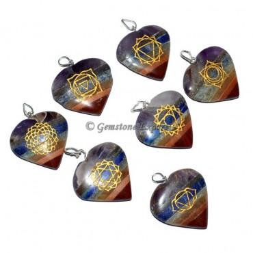 Bonded Chakra Heart Engraved Pendants