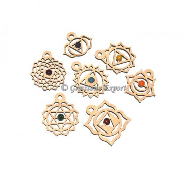 7 Chakra Wooden Pendents Sets