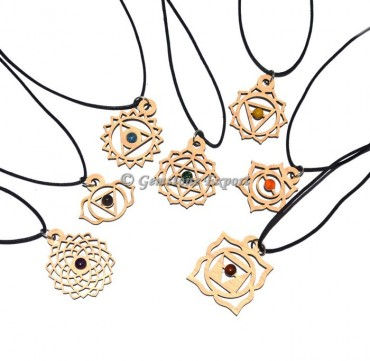 Chakra Wooden Pendents With Cord