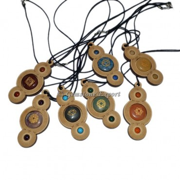 Seven Chakra Wooden Pendants Set With Cord