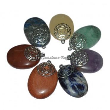 7 Chakra Oval Pendants Set
