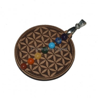 Flower Of Life 7 Chakra Stone Pendants