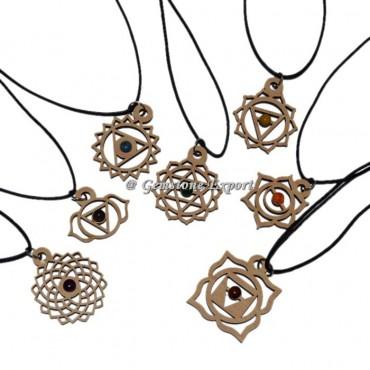 Seven chakra symbol Wooden Pendant set  With Cord