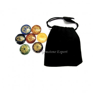 Seven Chakra Disc Set With Velvet Bag