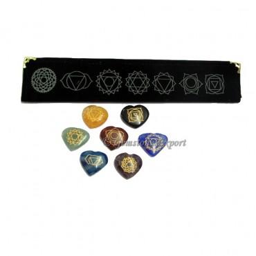 Seven Chakra Hearts Set With Velvet Packing