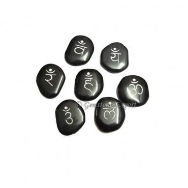 Engraved Sanskrit Chakra Set Black Agate