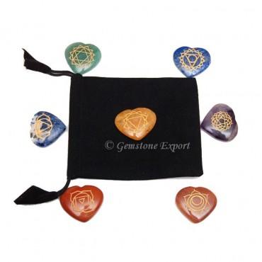 Seven Chakra Heart Set With Velvet Bag