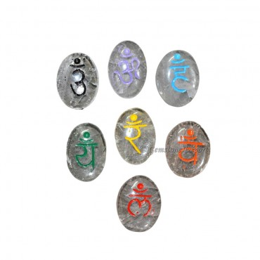 Engraved Sanskrit Chakra Oval Set On Crytal Quartz