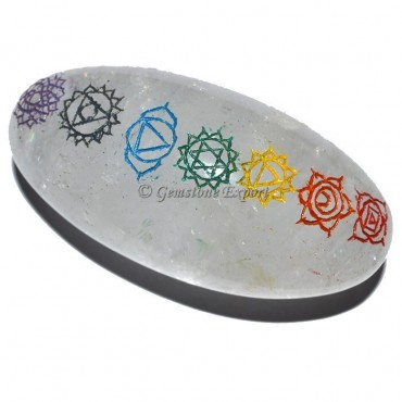 Engraved Chakra Color Crystal Lingam