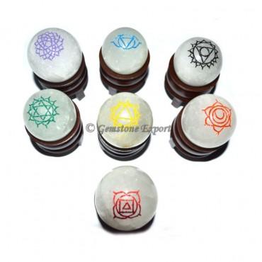 Chakra Engraved Color Crystal Ball Set
