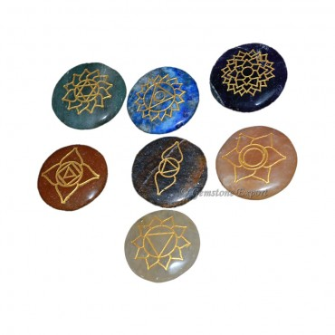 Engraved Flower OF Life Chakra Set