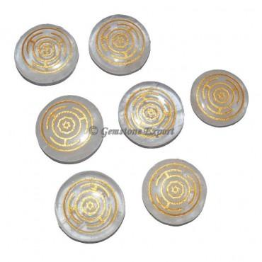 Engraved Chakra Wheel Crystal Quartz Set