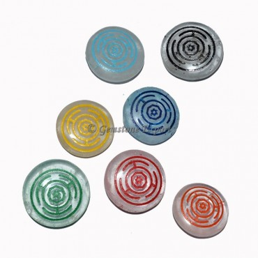 Engraved Colorfull Chakra Symbol Wheel Set