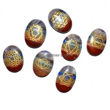 Engraved Chakra Symbol Bonded Oval Set