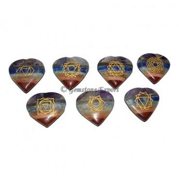 Engraved Chakra Symbol Bonded Heart Set