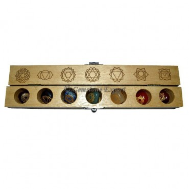 Chakra Engraved Tumbled Set with Carving Box