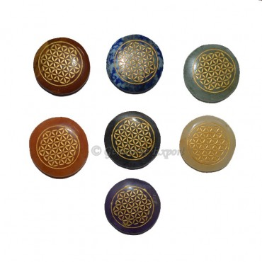Engraved Flower of Life Chakra Symbol Set