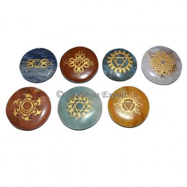 Meditation Engraved Chakra Symbol Set