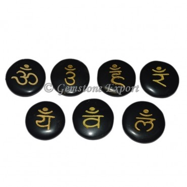 Black Agate Disc Chakra Sanskrit Symbol Gold Set