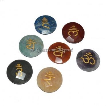 Faceted Disc Chakra Sanskrit Engraved Set