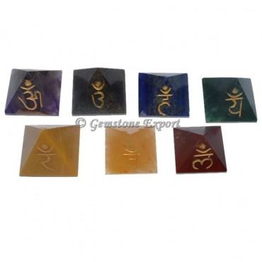 7 Chakra Pyramids Engraved Sanskrit Set