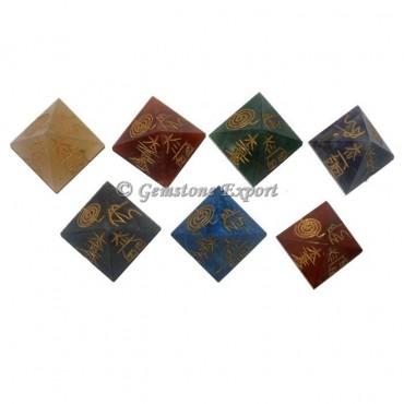 Reiki Symbols Engrave Seven Chakra Pyramids Set
