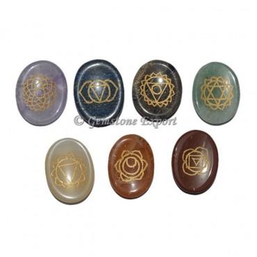 7 Chakra Worry Stone Engraved Set