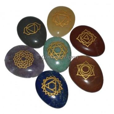 Engraved Seven Chakra Eggs Cabs Set