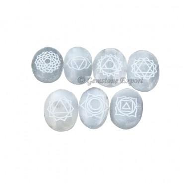 Selenite Engraved Cabochon Seven Chakra Set