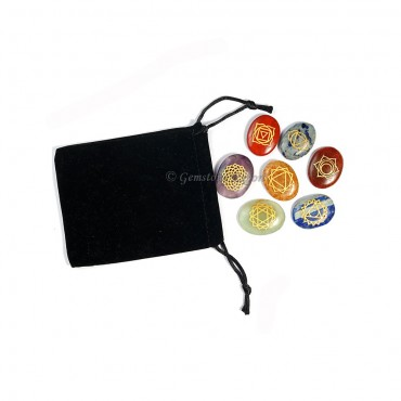 Oval Seven Chakra Set with Pouch