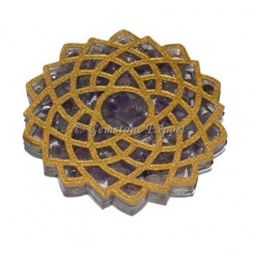 Amethyst Crow Chakra Orgone Coaster