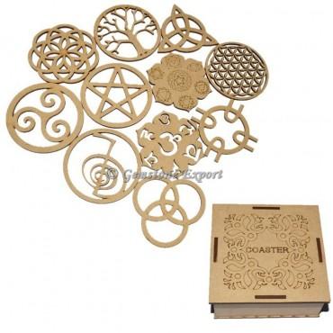 Assorted Design Wooden Coaster Set
