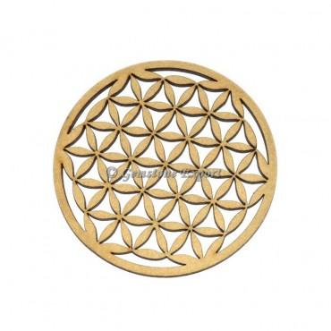 Flower Of Life Engraved Wooden Coaster