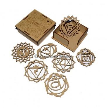 Engraved Seven Chakra Wooden Coaster Set