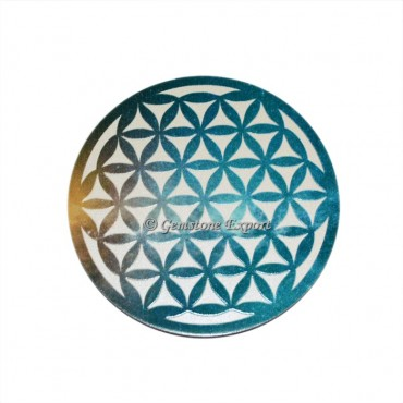 Printed Flower Of Life Wooden Coaster