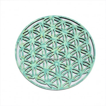 Carved Flower Of Life Wooden Coaster