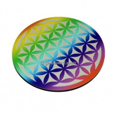 Colorful Flower Of Life Wooden Coaster