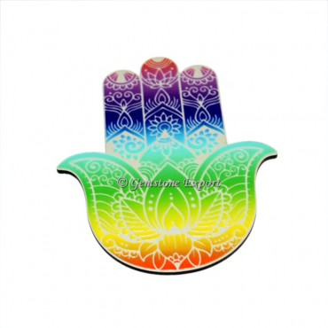 Colorful Hamsa Symbol Wooden Coaster